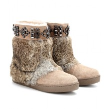 Tory Burch DALTON EMBELLISHED SUEDE BOOTS WITH RABBIT FUR http://goo.gl/BMGsGi