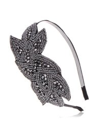 Alilang Black Gunmetal Grey Beaded Floral Leaf Bunch Retro Flapper Fashion Hair Headband http://amzn.to/19XvgpB