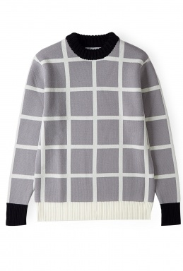 J.W. ANDERSON GREY CHECKED GRID RIBBED NECK SWEATER http://goo.gl/8rTfsu