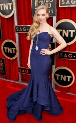 Amanda Seyfried: She looks like a blonde bombshell in this stunning Zac Posen gown and Lorraine Schwartz pendant necklace at the 2013 SAG Awards. {Photo: Matt Sayles/Invision/AP}