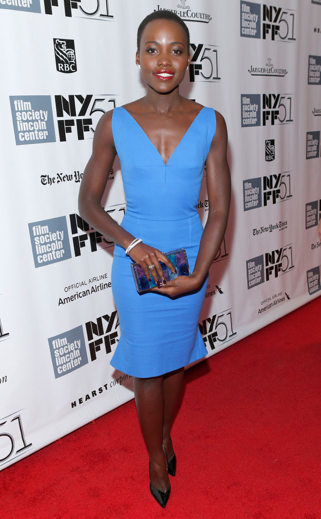 At the NYC premiere of 12 Years a Slave, Lupita in a Roland Mouret dress.