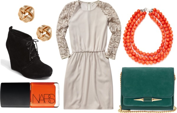 Lace Dress - Green & Orange