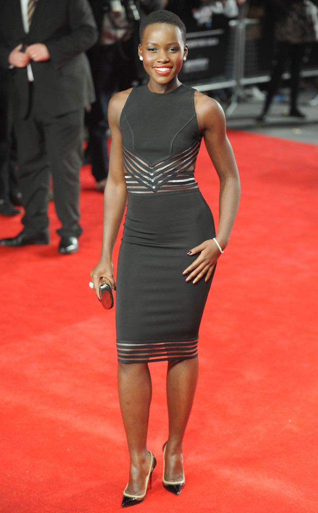 Lupita Nyong'o in Christopher Kane midi and Christian Louboutin heels to the European premiere of Twelve Years A Slave during the BFI London Film Festival at Odeon Leicester Square.