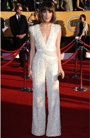 Rose Byrne went a different look on the red carpet by wearing this Elie Saab Couture jumpsuit in 2012