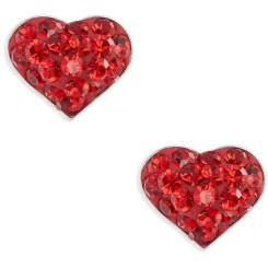 Cato Red Crystal Heart Earrings