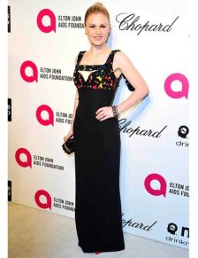 Anna Paquin wearing a Alexander McQueen SS14 Multicolour 3D embroidered crepe gown with 3D embroidered knucklebox clutch {22nd Annual Elton John AIDS Foundation Academy Awards viewing party}