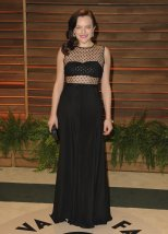 Elisabeth Moss is wearing the Amelia gown by Houghton {Vanity Fair Oscar Party}
