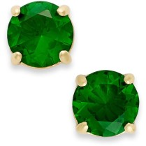kate spade new york Earrings, 12k Gold-Plated Green Crystal Round Stud Earrings