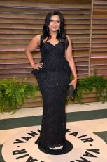 Mindy Kaling wore a dress made by her show's costume designer Salvador Perez {Vanity Fair Oscar Party hosted by Graydon Carter}
