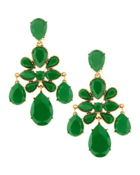 Oscar de la Renta Faceted Chandelier Clip-On Earrings, Kelly Green