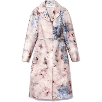 Valentino Printed Silk-Blend Mikado Trench Coat