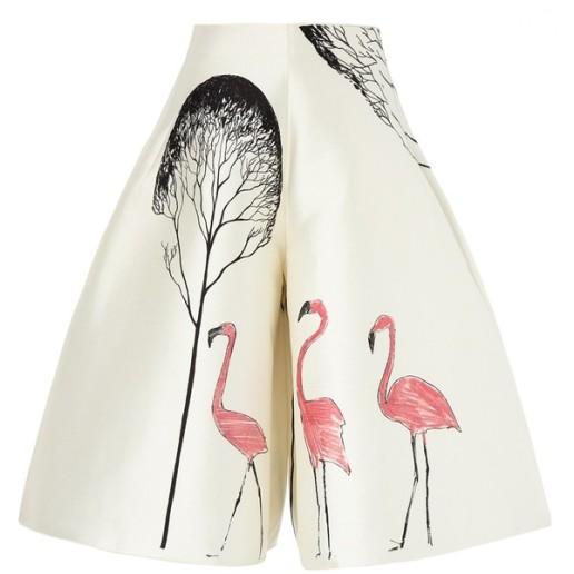 Vika Gazinskaya White Trapeze Flamingo Skort