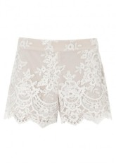 2. SCALLOPED HEM SHORTS | ALICE + OLIVIA Cream sequinned lace shorts, from harveynichols.com