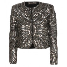 ALICE + OLIVIA Embellished silk cropped blazer