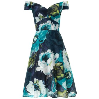 Ariella Molly Off The Shoulder Floral Dress, Blue