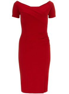 Dorothy Perkins Fever Fish Red Off Shoulder Dress