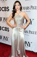Emmy Rossum in Ralph Lauren arrives at the 2014 Tony Awards Red Carpet.