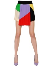 FAUSTO PUGLISI COLOR BLOCKED WOOL CREPE PLEATED SKIRT
