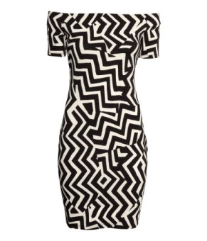 H&M Zig Zag Print Off-the-shoulder dress
