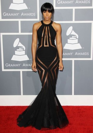 KELLY ROWLAND In a Georges Chakra Couture gown at the Grammy Awards in 2013.