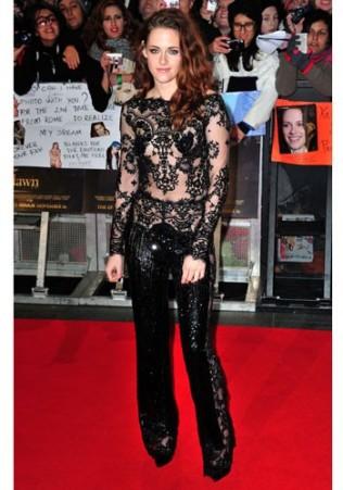 KRISTEN STEWART In a Zuhair Murad jumpsuit at the premiere of Twilight Saga- Breaking Dawn Part 2 in London in 2012.
