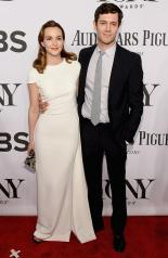 Leighton Meester {Antonio Berardi dress with Jimmy Choo shoes, an Emm Kuo clutch, and Jacob & Co. jewels} and Adam Brody make their first appearance together as a married couple as they arrive at the 2014 Tony Awards Red Carpet.