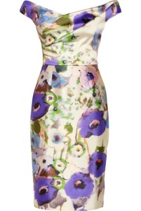 LELA ROSE Floral-print satin dress