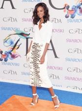 Liya Kebede - Wes Gordon shirt and skirt.