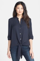 MICHAEL Michael Kors Tie Front High:Low Silk Shirt