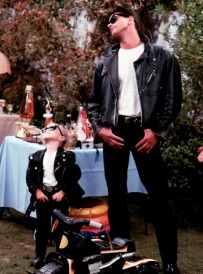 Michelle and Uncle Jesse dressed in Moto Chic
