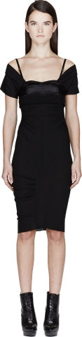 Nina Ricci Black Crepe Off-Shoulder Dress