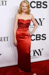 Patricia Clarkson arrives in this perfect red Dolce & Gabbana gown at the 2014 Tony Awards Red Carpet.