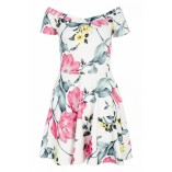 QUIZ Cream Floral Print Off Shoulder Dress