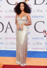 Solange Knowles in Calvin Klein Collection embellished pewter silk dress; Lorraine Schwartz White diamond earrings and diamond ring.