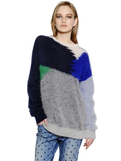 STELLA MCCARTNEY COLOR BLOCK MOHAIR WOOL INTARSIA SWEATER