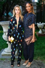 Cara Delevingne - in a jumpsuit from Stella McCartney's pre-spring/summer 2015 collection - and Jourdan Dunn at Stella McCartney pre-spring/summer 2015 presentation, New York – June 5 2014