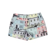 TED BAKER Womens Grey Regency Houses Print Shorts