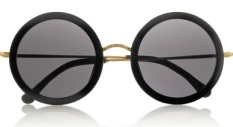 SUNNIES | THE ROW Leather-trimmed round-frame acetate and metal sunglasses, $445 from net-a-porter.com