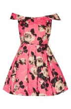 TOPSHOP 'Bardot' Textured Floral Off Shoulder Fit & Flare Dress