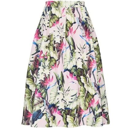 TOPSHOP Tropical Print Scuba Midi Skirt
