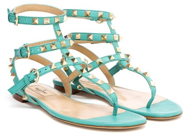 VALENTINO Rockstud Grained Leather Sandals