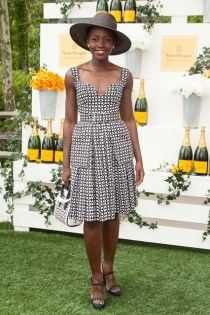 Lupita Nyong'o wore a dress and carried a bag both by Alexander McQueen at the Veuve Clicquot Polo, New Jersey - May 31 2014