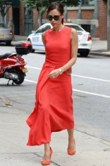 Victoria Beckham wore a dress from her own autumn:winter 2014 collection in New York - June 10 2014