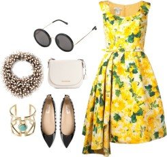 OSCAR DE LA RENTA floral pleated dress, THE ROW round sunglasses, NIGHT MARKET embellished necklace, MICHAEL MICHAEL KORS 'Hamilton' messenger bag, PAMELA LOVE 'Pathway' cuff, VALENTINO GARAVANI 'Rockstud' ballerinas