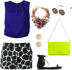 GIORGIO ARMANI sleeveless blouse, MICHAEL KORS girafe print shorts, NIGHT MARKET rose necklace, THE ROW round sunglasses, CAROLINA BUCCI 'Mirador' half ball earring, SAINT LAURENT 'Letters' clutch, ANN DEMEULEMEESTER lace-up sandal
