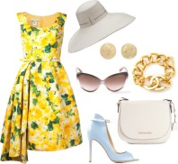 OSCAR DE LA RENTA floral pleated dress, FIL HATS 'Panterella' hat, CAROLINA BUCCI 'Mirador' half ball earring, TOM FORD 'Madison' sunglasses, CHANEL VINTAGE turnlock bracelet, MICHAEL MICHAEL KORS 'Hamilton' messenger bag, GIANVITO ROSSI high ankle stiletto pumps,
