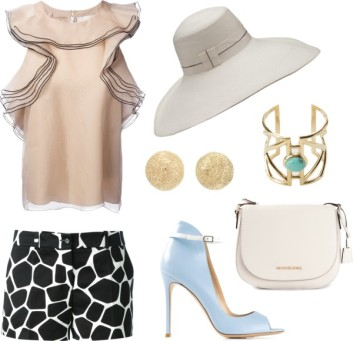 CHLO ruffle sleeveless blouse, MICHAEL KORS girafe print shorts, FIL HATS 'Panterella' hat, PAMELA LOVE 'Pathway' cuff, CAROLINA BUCCI 'Mirador' half ball earring, MICHAEL MICHAEL KORS 'Hamilton' messenger bag, GIANVITO ROSSI high ankle stiletto pumps