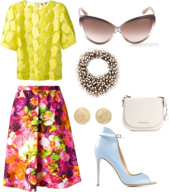 MSGM disk embellished t-shirt, VALENTINO floral a-line skirt, TOM FORD 'Madison' sunglasses, NIGHT MARKET embellished necklace, CAROLINA BUCCI 'Mirador' half ball earring, MICHAEL MICHAEL KORS 'Hamilton' messenger bag, GIANVITO ROSSI high ankle stiletto pumps