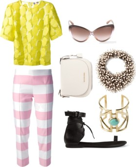MSGM disk embellished t-shirt, MOSCHINO CHEAP & CHIC stripe trouser, TOM FORD 'Madison' sunglasses, MICHAEL MICHAEL KORS 'Hamilton' messenger bag, NIGHT MARKET embellished necklace, PAMELA LOVE 'Pathway' cuff, ANN DEMEULEMEESTER lace-up sandal