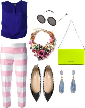 GIORGIO ARMANI sleeveless blouse, MOSCHINO CHEAP & CHIC stripe trouser, THE ROW round sunglasses, NIGHT MARKET rose necklace, SAINT LAURENT 'Letters' clutch, VALENTINO GARAVANI 'Rockstud' ballerinas, KELLY WEARSTLER 'Sonara' earrings